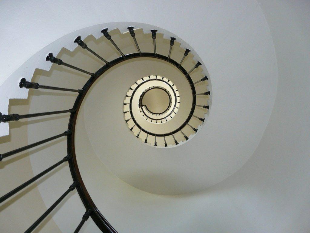 staircase, upwards, rails